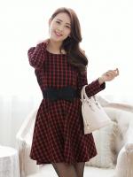 (สีแดง)ชุดเดรสแซกสั้นแฟชั่นเกาหลี คอกลม แขนยาว สีแดงลายดำ มีโบว์ที่เอว กระโปรงบาน (ใหม่ พร้อมส่ง) ร้าน Ladyshop4u