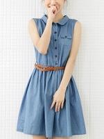 ชุดเดรสผ้ายีนส์สั้น ชุดเดรสแฟชั่นเกาหลี คอปก แขนกุด ผ้ายีนส์บางสีฟ้า กระเป๋าหน้า (ใหม่ พร้อมส่ง) ร้าน Ladyshop4u