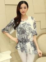 (สีขาวดำ)เสื้อผ้าแฟชั่นเกาหลีทำงานออฟฟิศ สีขาวพิมพ์ลายเส้นสีดำ คอกลม แขนสามส่วน ผ้าชีฟอง ( ใหม่ พร้อมส่ง) ร้าน LadyShop4U