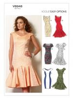 แพทเทิร์นตัดเดรสสตรี มิกซ์แอนด์แมช Vogue 8948D5 ไซส์ใหญ่ Size: 12-14-16-18-20 (อก 34-42 นิ้ว)