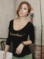 เสื้อยืดแฟชั่น เสื้อยืดเกาหลี สีดำ คอกลม แขนยาว(ใหม่ พร้อมส่ง) ร้าน Ladyshop4u