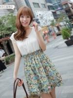 (สีเขียวฟ้า)ชุดเดรสแซกสั้นแฟชั่นเกาหลี ผ้าชีฟอง มีระบายที่แขน เอวยืด กระโปรงสองชั้นลายดอกไม้ (ใหม่ พร้อมส่ง) ร้าน Ladyshop4u