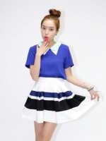 กระโปรงบานสั้น แฟชั่นเกาหลี ผ้าชีฟอง มีซิปข้าง (ใหม่ พร้อมส่ง) ร้าน Ladyshop4U