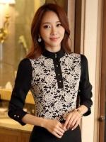 (สีดำ ) เสื้อทำงานแฟชั่นเกาหลีออฟฟิศ เสื้อทำงาน คอจีน แขนสามส่วน ลำตัวด้านหน้าเป็นผ้าลูกไม้สีขาว กระดุมคอ (ใหม่ พร้อมส่ง) ร้าน LadyShop4U
