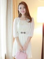ชุดเดรสทำงานเกาหลี ชุดทํางานออฟฟิศ สีเบจ เสื้อคอกลม แขนสามส่วน เอวยืด กระโปรงพลีทสั้น พร้อมเข็มขัด(ใหม่ พร้อมส่ง) ร้าน Ladyshop4u