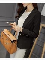 (สีดำ ไซส์ XL) เสื้อสูททำงานออฟฟิศ สีดำ คอปก แขนยาว แต่งกระดุม กระเป๋าหลอก ( ใหม่ พร้อมส่ง) ร้าน LadyShop4U