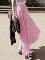 กระโปรงยาวแฟชั่นเกาหลี สีชมพู ผ้าชีฟองอัดพลีท (ใหม่ พร้อมส่ง) ร้าน Ladyshop4U