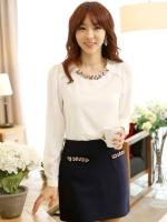 (สีขาว)เสื้อผ้าแฟชั่นเกาหลีทำงานออฟฟิศ สีขาว ประดับพลอยที่คอ ผ้าชีฟอง ( ใหม่ พร้อมส่ง) ร้าน LadyShop4U