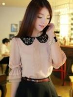 เสื้อทำงานแฟชั่นเกาหลี ผ้าชีฟอง แขนสามส่วน คอบัวสีดำ ปลายแขนจั๊มประดับผ้าลูกไม้(ใหม่ พร้อมส่ง) ร้าน Ladyshop4u