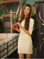 เดรสทำงาน เดรสแฟชั่น เดรสเข้ารูป เดรสเกาหลี สีขาว ลายคลื่น แขนยาว เดรสรัดรูป (ใหม่ พร้อมส่ง) ร้าน Ladyshop4u