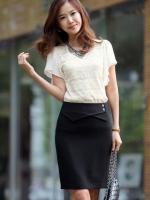 (สีดำ ไซส์ L)กระโปรงสั้นแฟชั่นเกาหลี สีดำ แต่งกระดุมด้านซ้าย เข้ารูป ผ้าคอตตอน(ใหม่ พร้อมส่ง) ladyshop4U