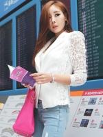 Pre order (สีำขาว ไซส์ L)เสื้อสูทคลุมนำเข้าเกาหลี แขนยาวผ้าลูกไม้ เข้ารูป คอปก กระดุมหน้า (ใหม่ พรีออเดอร์)ร้าน Ladyshop4u
