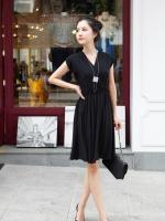 เดรสแฟชัน่ เดรสสั้น เดรสทำงาน เดรสออกงาน สีดำ คอวี แขนกุด เอวยางยืด กระโปรงบาน สวมใส่สบาย (ใหม่ พร้อมส่ง)ร้าน LadyShop4U