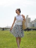 กระโปรงบาน กระโปรงทำงาน กระโปรงแฟชั่น กระโปรงลายตรงลง ซิปข้าง สวย ดูดี (ใหม่ พร้อมส่ง) LadyShop4U