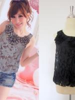 เสื้อทำงานแฟชั่นนำเข้าเกาหลี แขนกุด สีดำ ผ้าลูกไม้ คอกลม ซับในสีำดำ (ใหม่ พร้อมส่ง) ร้าน Ladyshop4u