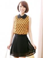 ชุดเดรสแฟชั่น ชุดเดรสเกาหลี ผ้าชีฟอง คอปกสีดำ แขนกุด สีเหลือง กระโปรงบานสีดำ (ใหม่ พร้อมส่ง) ร้าน Ladyshop4u