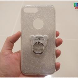 iPhone 7 Plus - เคสฟรุ้งฟริ้ง TPU ประกายเพชรสีเงิน พร้อม I-Ring หมี
