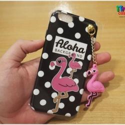 iPhone 6 / 6s - เคส TPU ลาย นกฟลามิงโก้ Flamingos Aloha BackGround