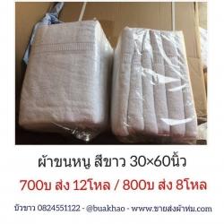 ผ้าขนหนู เช็ดตัว สีขาว 30*60นิ้ว โหลละ 700บ ส่ง 12โหล