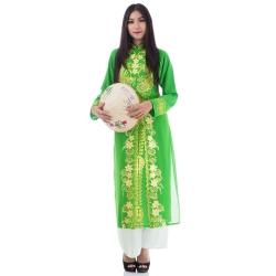 ชุดเวียดนามหญิงชั้นสูง ลายหงส์คู่มังกร (สีเขียวอ่อน)