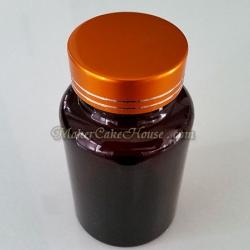กระปุกยา อาหารเสริม สีชา ฝาเกลียวสีทองหรู 150 ml. ( ราคา 10 ชิ้น )