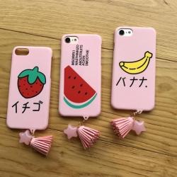 iPhone 6 Plus, 6s Plus - เคสแข็งลายผลไม้ พื้นหลังสีชมพ พร้อมพู่ห้อย น่ารัก