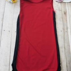 T2314 เดรสแขนกุด สีแดง แต่งลายด้านข้างและชายล่าง สีดำ แนวสปอร์ต