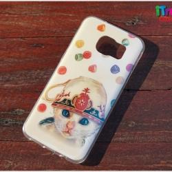 Samsung Galaxy S7 Edge - เคส TPU เงาวับ ลาย Cat Cup