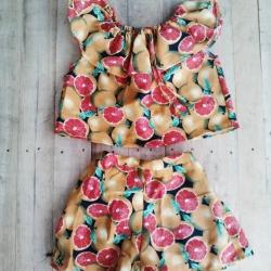 TT1001 Set เสื้อ+กางเกง สวย น่ารักมากๆๆ ค่ะ ใส่ชิวๆๆ สบาย ไปทะเลเก๋สุดๆๆ สี 3 แบบ ลายส้ม