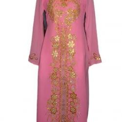 ชุดเวียดนามหญิงชั้นสูง ลายหงส์คู่มังกร (สีชมพู)