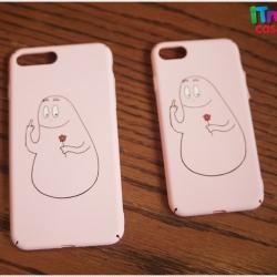 iPhone 7 - เคสแข็งปิดขอบ ลาย barbapapa ชูนิ้ว