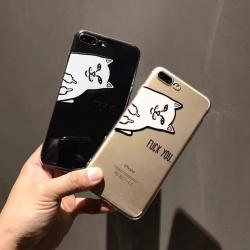 iPhone 7 - เคสใส TPU ลายแมว Fuck You