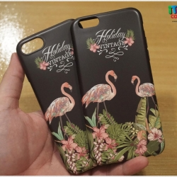 iPhone 6 / 6s - เคส TPU ลาย นกฟลามิงโก้ Flamingos Black Vintage