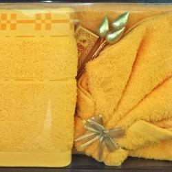 ชุดผ้าขนหนูสำหรับถวายพระ ผ้าฝ้าย100% เกรดA มีทั้งผ้าขนหนู สีเหลือง / สีกรัก ชุดละ 240 บาท ส่ง 20ชุด