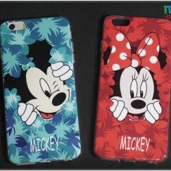 iPhone 6, 6s - เคส TPU ลาย Mickey Blue & Minnie Red