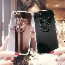 iPhone 6, 6s - เคสหลังเงา พร้อมที่ตั้งแหวนด้านหลังรูปหมี