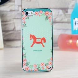 iPhone 5 / 5S / SE - เคส Face Idea ลายม้าไม้ พื้นหลังเขียว
