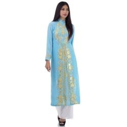 ชุดเวียดนามหญิงชั้นสูง ลายหงส์คู่มังกร (สีฟ้า)