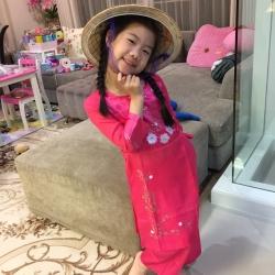 ชุดเวียดนามเด็กหญิง ผ้าแพรไหม (แขนยาว)