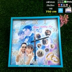 003-มิกซ์รูป นาฬิกากระจก ขอบพลาสติก สี่เหลี่ยม 29x29 cm