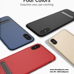 iPhone X - เคส TPU ลายเคฟล่า Carbon พร้อมขาตั้ง TOTU DESIGN แท้