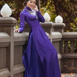 ชุดเวียดนามผู้หญิง สีม่วงเข้ม (งานสั่งตัดพิเศษ)