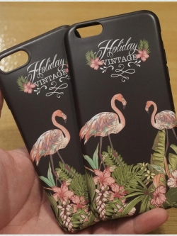 iPhone 8 / 7 - เคส TPU ลาย นกฟลามิงโก้ Flamingos Black Vintage