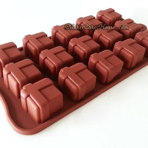 พิมพ์ซิลิโคนช็อกโกแลตหรือเค้ก รูปกล่องของขวัญ
