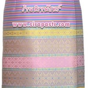 ผ้าถุงป้ายข้าง-สั้น ผ้าไหมฯสีชมพู (เอวใส่ได้ถึง 32 นิ้ว) รายละเอียดในหน้าสินค้า