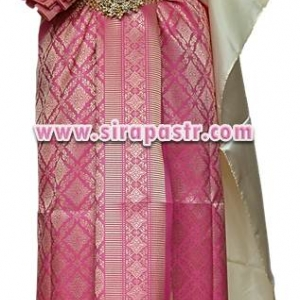 ชุดผ้าไทย BB สีชมพูเข้ม (สไบ+ผ้าฯยาว 4 หลา*แบบจับสด) รายละเอียดในหน้าสินค้า