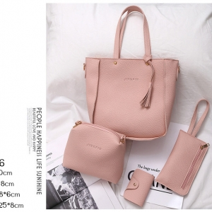 J06-กระเป๋าเซต 4 ใบหนัง PU สีชมพู
