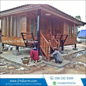 บ้านไม้สัก ขนาด 4*6 เมตร ประตูสไลด์ ทุกบาน ราคา 450000 บาท