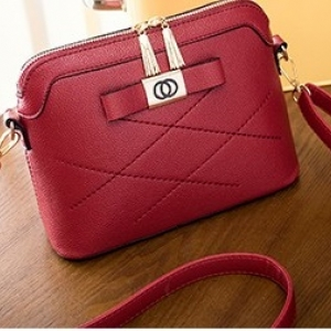 J25-กระเป๋าสะพายติดโบว์- สีแดง