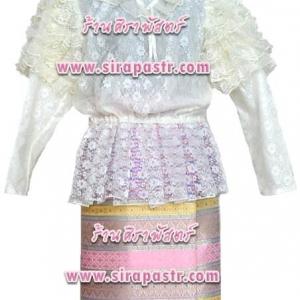 เสื้อลูกไม้แขนยาว+ผ้าถุงป้ายข้าง-สั้น ผ้าไหมฯสีชมพู (เอวใส่ได้ถึง 32 นิ้ว) *ระบุ size เสื้อฯ / รายละเอียดในหน้าสินค้า